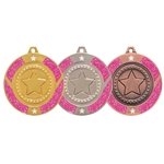 Pink Glitter Star Medal and Ribbon