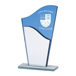 Engraved Blue Glass Plaques