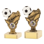 Antique Gold Football Boot and Ball Trophies