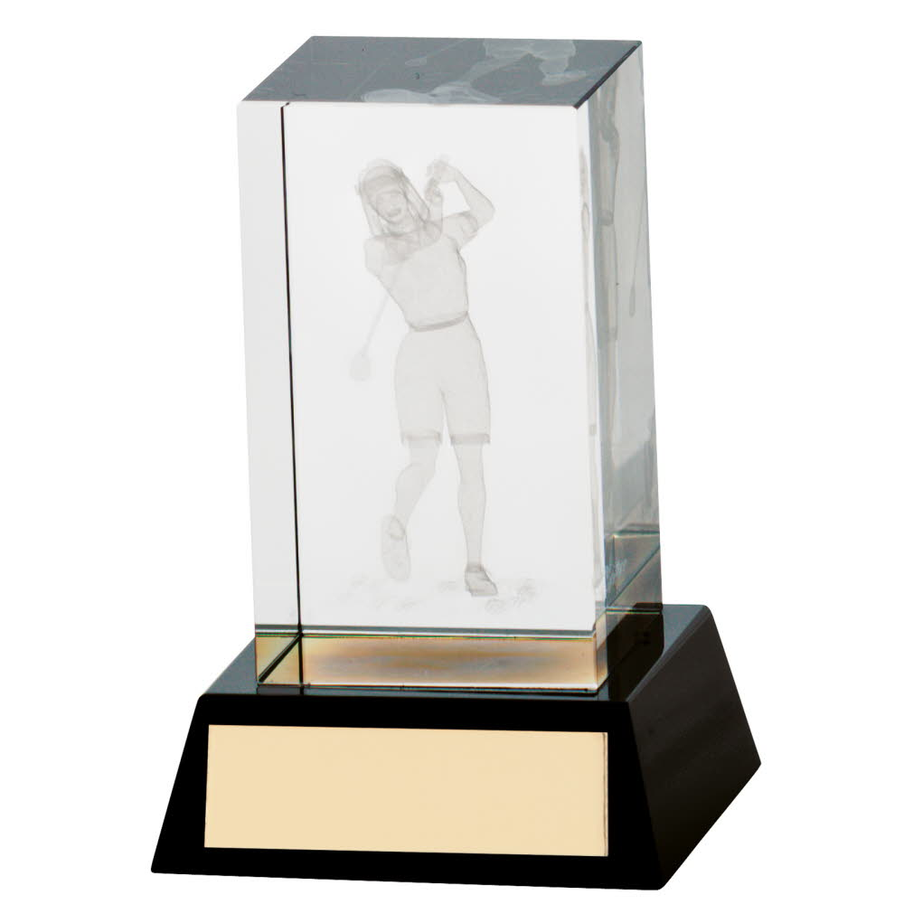 3D Crystal Golf Female Cube Trophies