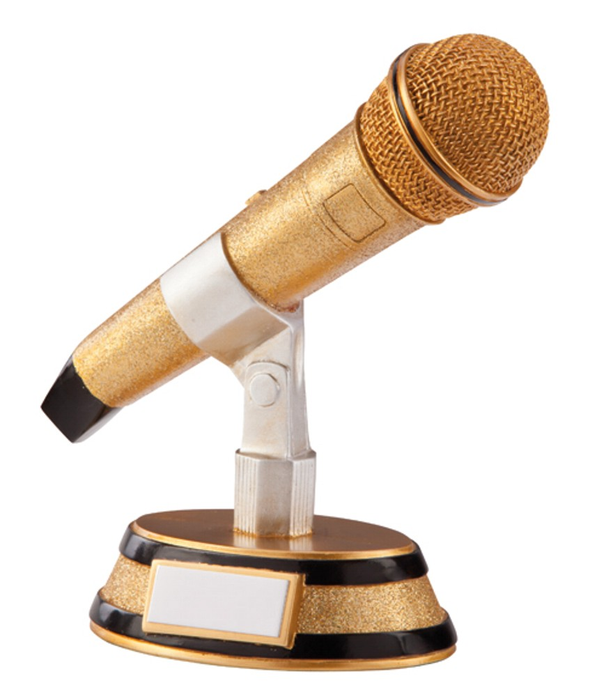 Gold Microphone Karaoke Trophies