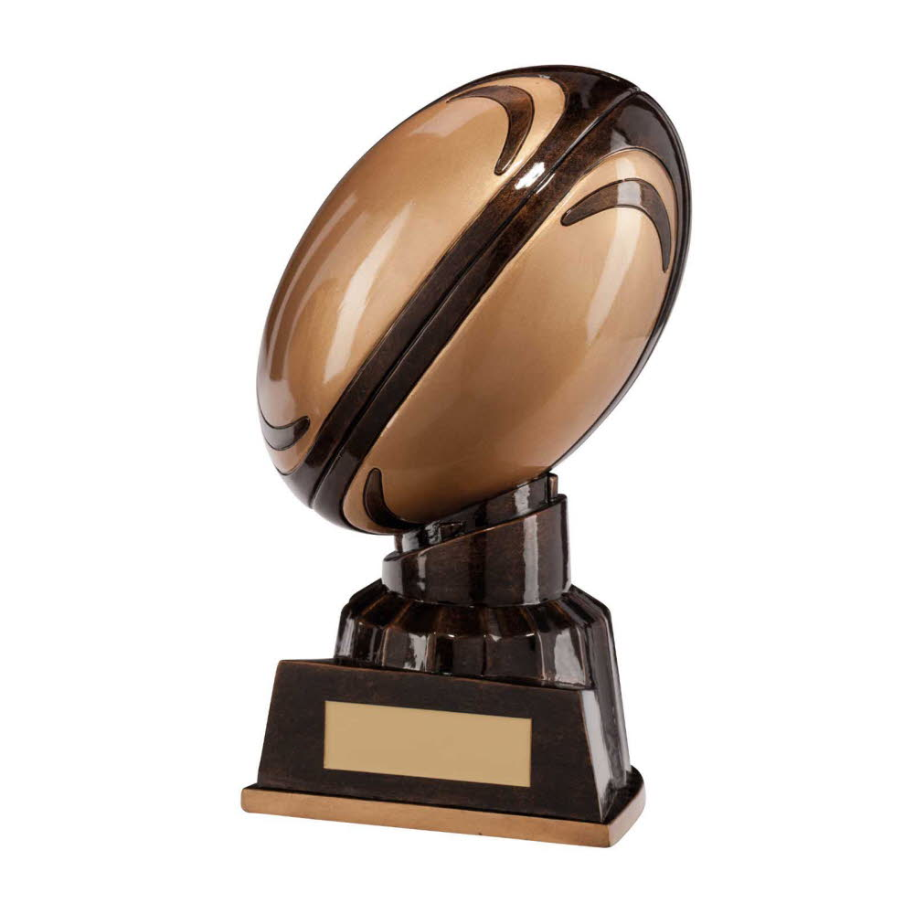Charge Down Resin Rugby Ball Trophies