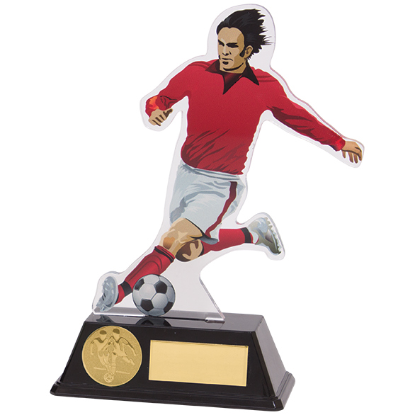 Attack Red Acrylic Football Player Trophies