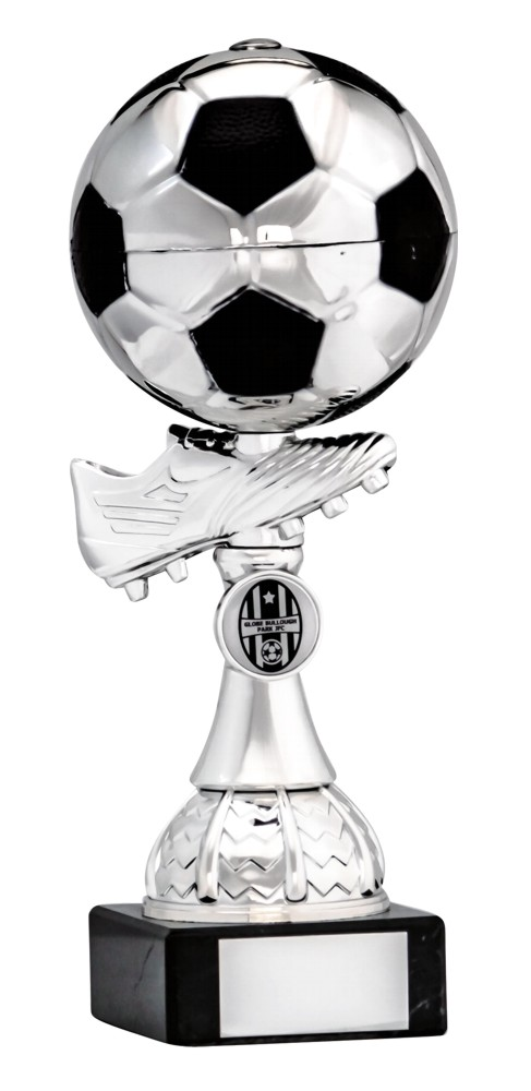 Silver/Black Football Boot and Ball Trophies