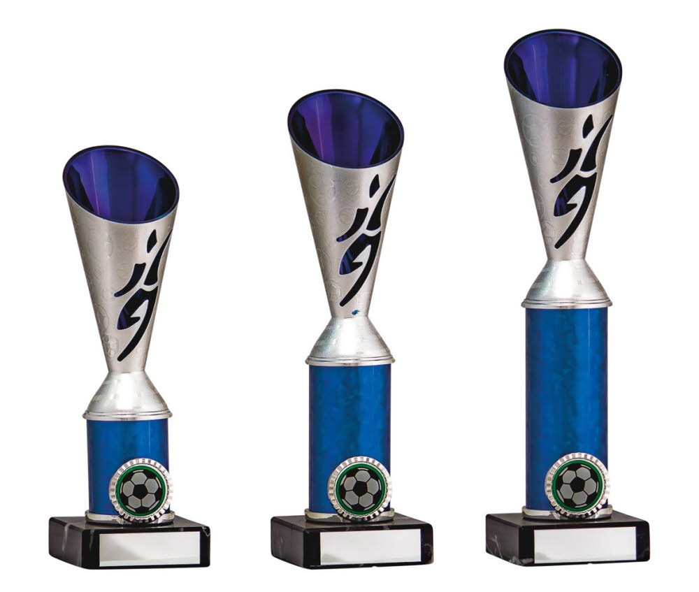 Silver/Blue Football Player Cup Trophies