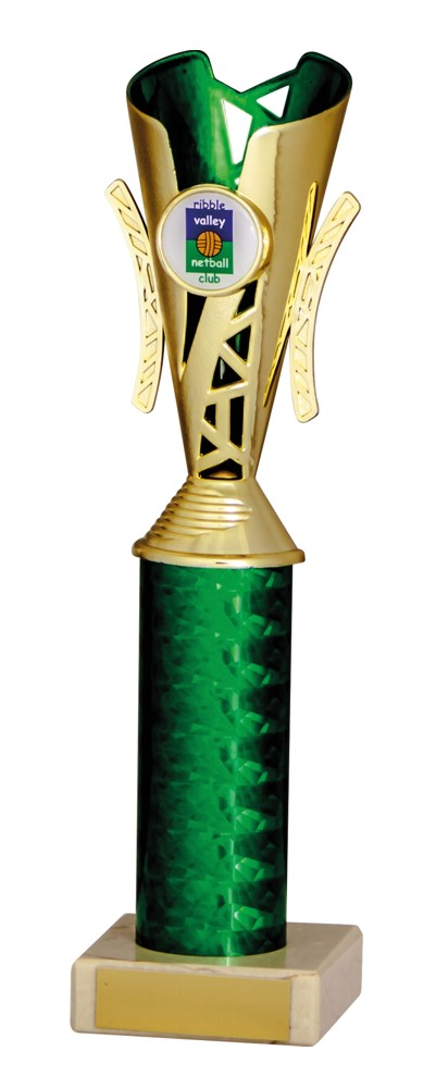 Gold and Green Modern Trophies