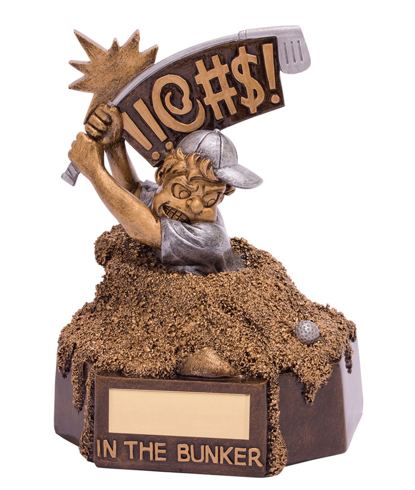 Resin Bunker Blues Golf Trophies
