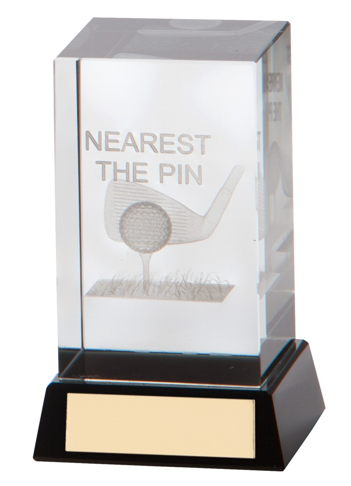 3D Nearest The Pin Golf Cube Trophies