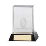 3D Crystal Cube Rugby Ball Trophies