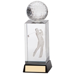 3D Crystal Golf Male Cube Trophies