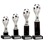 Silver Football Ball Trophies on Black Tubing