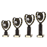 Antique Silver Football Trophies on Black Tubing
