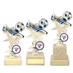 Gold and Blue Football Boot Trophies