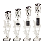 Silver and Black Modern Star Cup Trophies