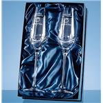 Engraved Champagne Flutes with 3 Swarovski Crystals