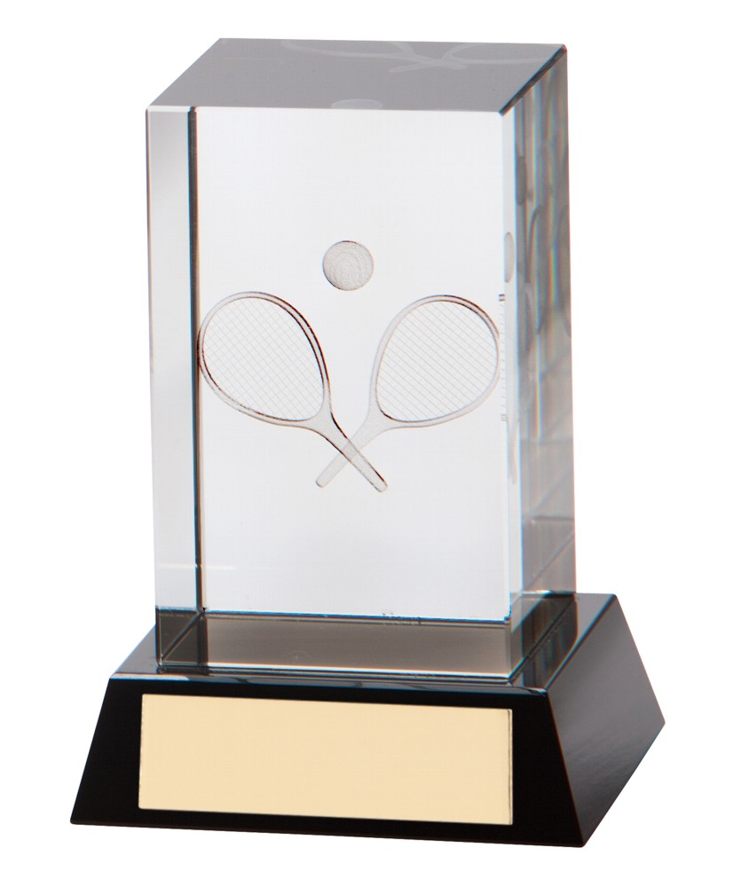 3D Tennis Crystal Block Trophies