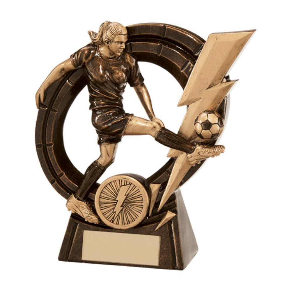 Resin Thunderbolt Female Striker Football Trophies