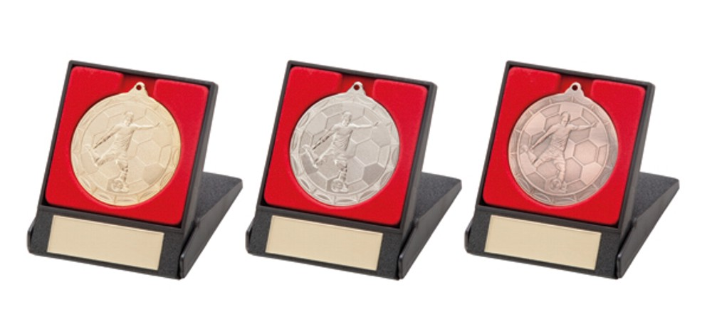 Football Player/Figure Medals in a Box