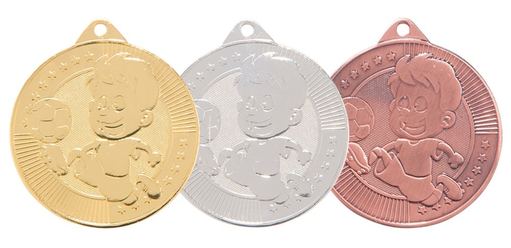 Moulded Little Champion Football Medals and Ribbon