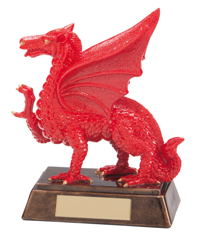 Resin Celtic Welsh Dragon Rugby Trophies