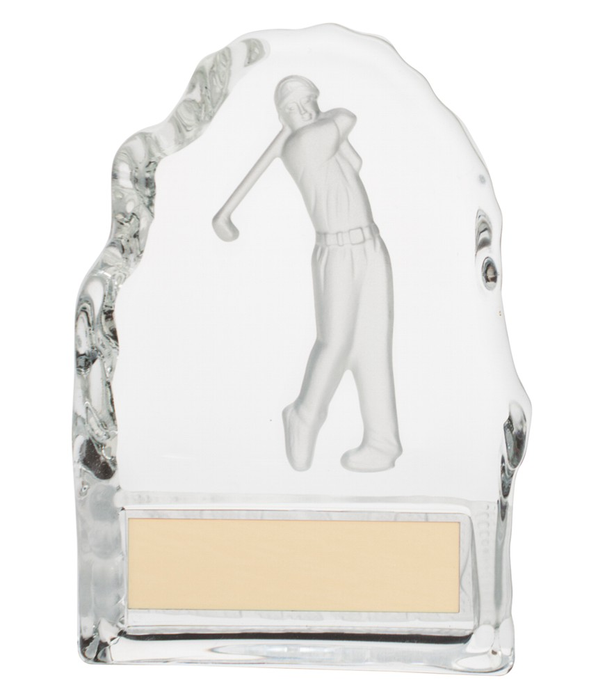 Crystal Golf Figure Block Trophies