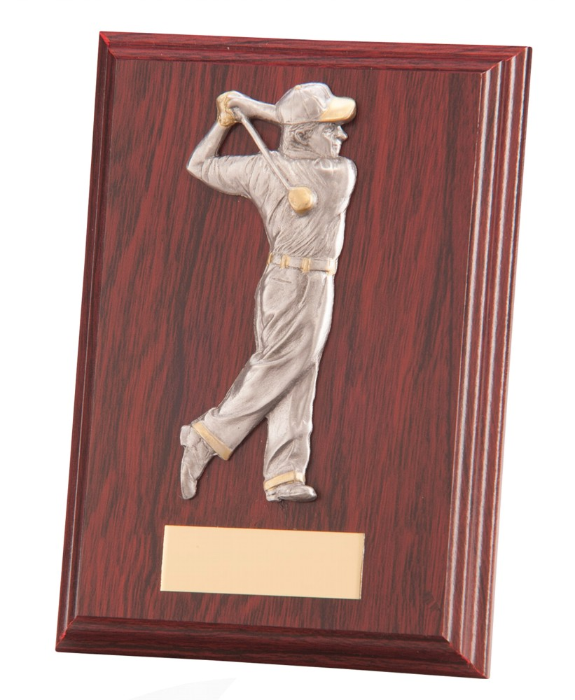 Golf Figure Galway Mahogany Wooden Plaques