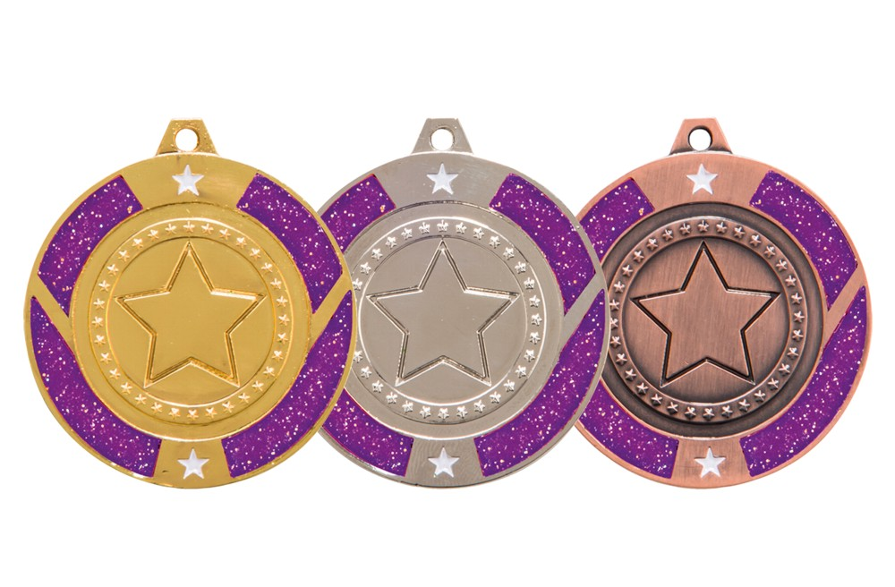 Purple Glitter Star Medal and Ribbon