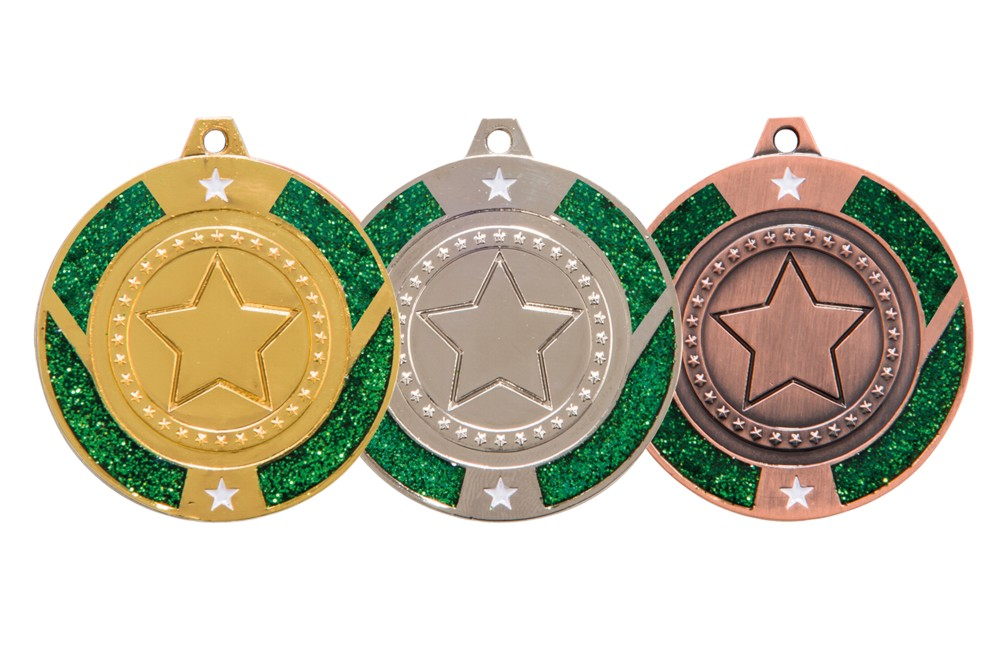 Green Glitter Star Medal and Ribbon