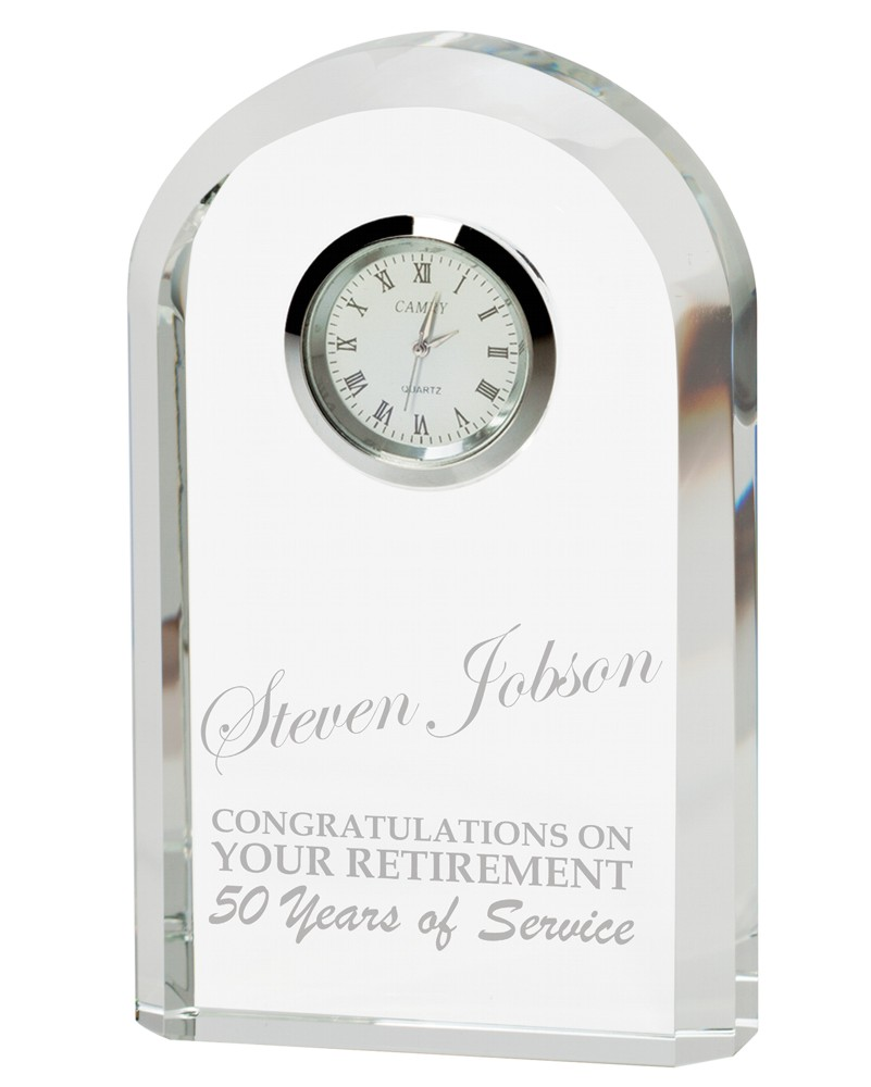 The Eternity Glass Engraved Clock
