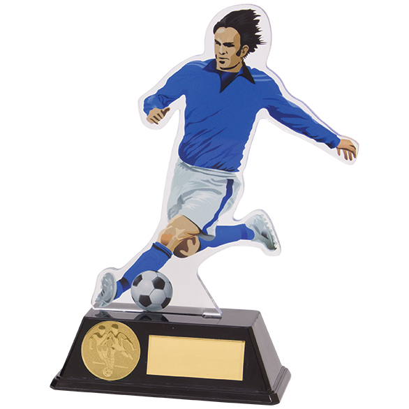 Attack Blue Acrylic Football Player Trophies