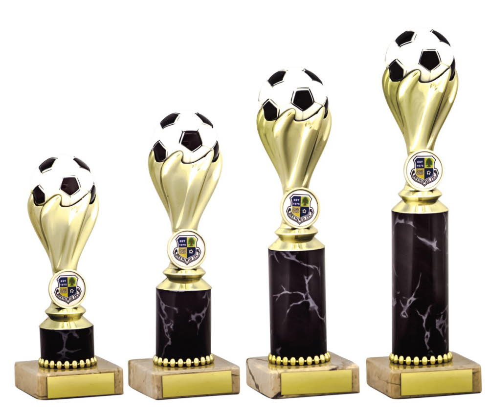 Gold Football Ball Trophies on Black Tubing