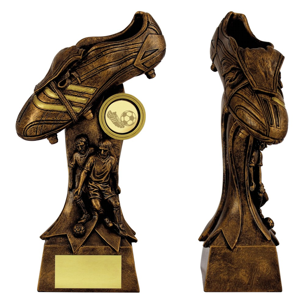 Antique Gold Resin 3D Football Boot Trophies