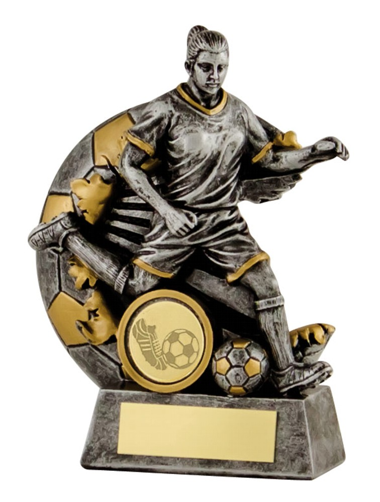 Resin Silver Female Football Figure Trophies