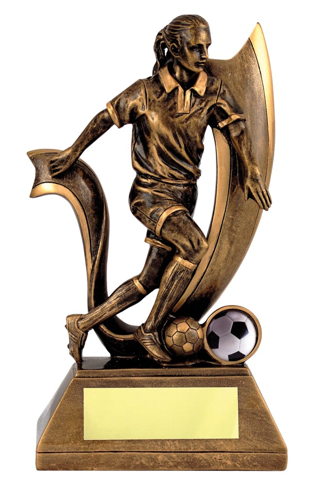 Resin Gold Female Football Figure Trophies
