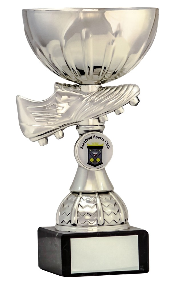 Silver Football Boot Cup on Riser Trophies