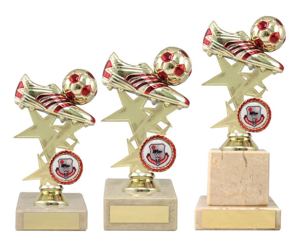 Gold and Red Football Boot Trophies