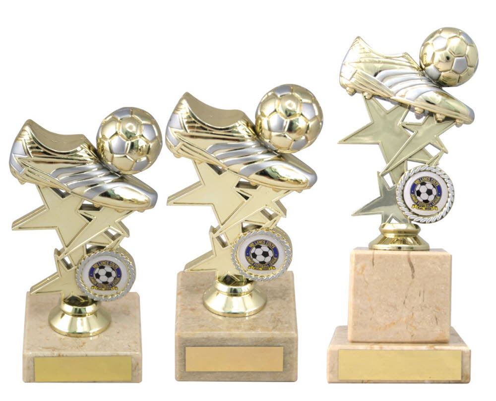 Gold and Silver Football Boot Trophies