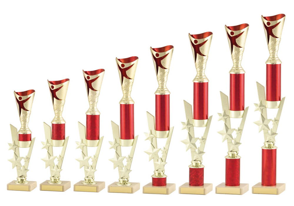 Large Gold and Red Modern Dance Trophies