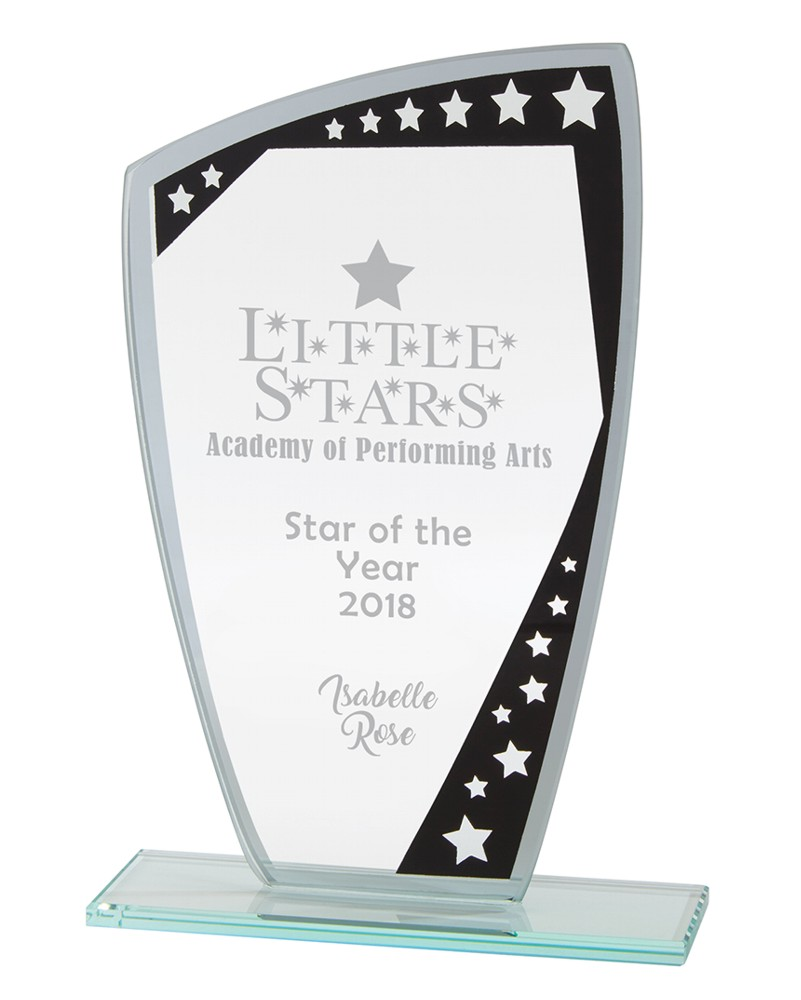 Engraved Cosmic Star Glass Plaques