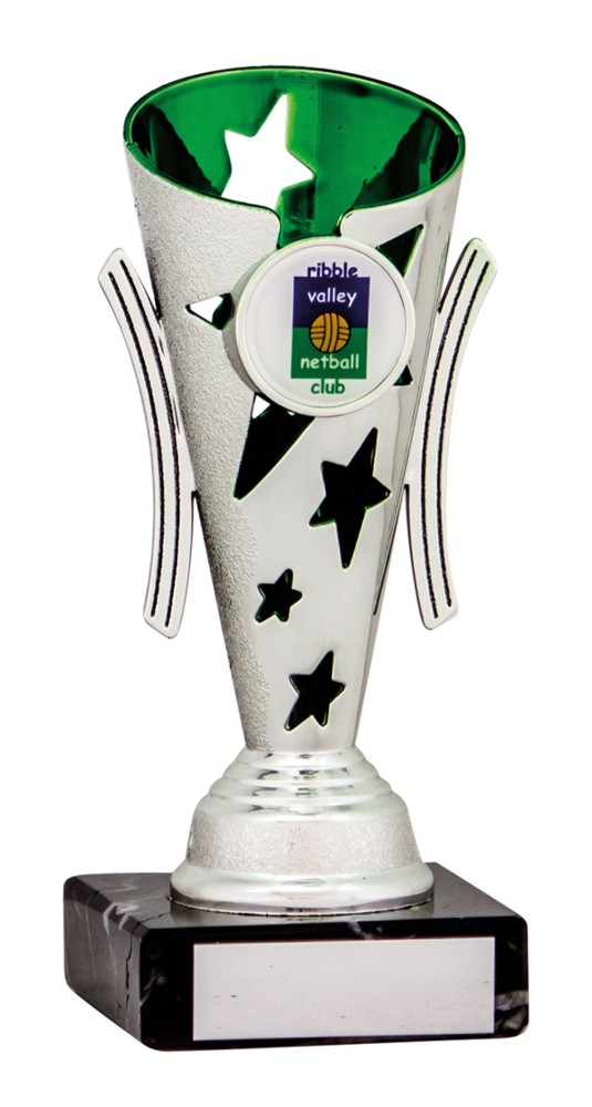 Silver and Green Star Cups