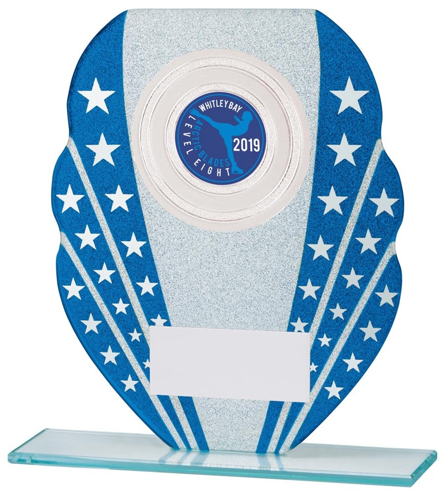 Tri Star Blue and Silver Glitter Glass Trophies