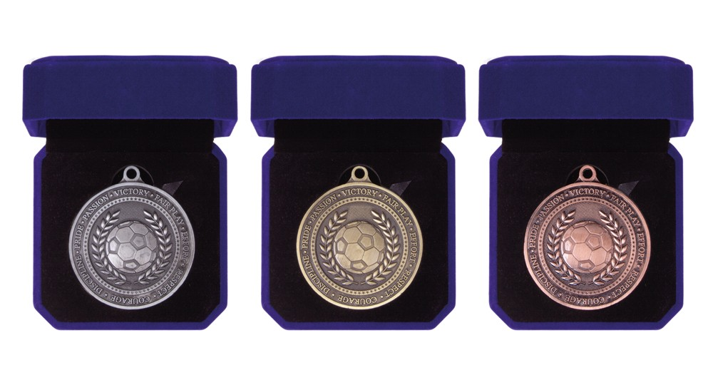 60mm Heavy Boxed Football Medals