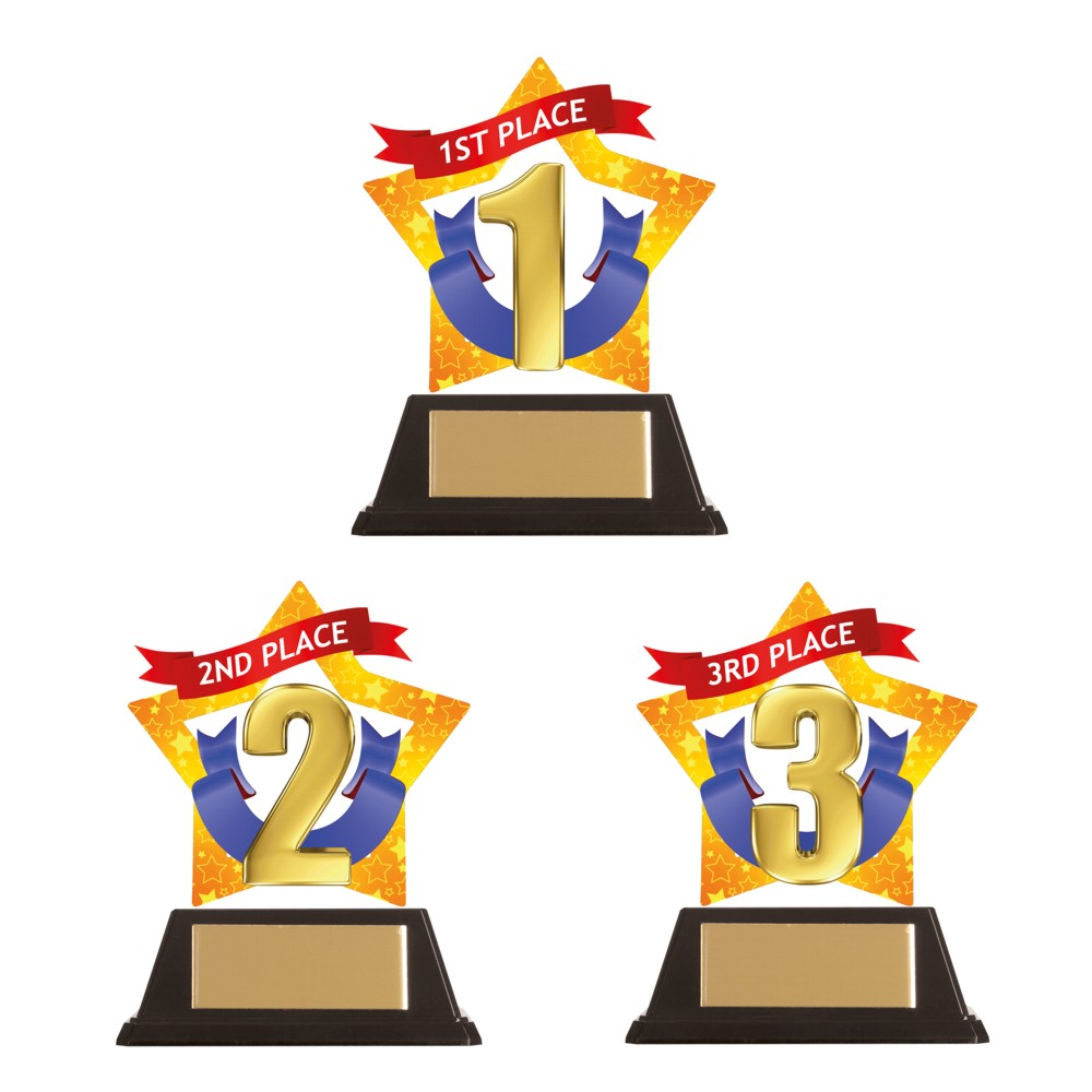 Acrylic 1st, 2nd and 3rd Place Star Trophies