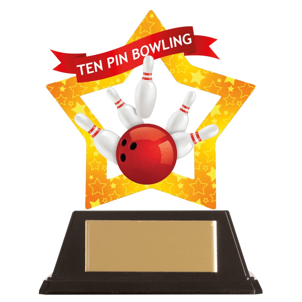 Acrylic Star Ten Pin Bowling Trophies
