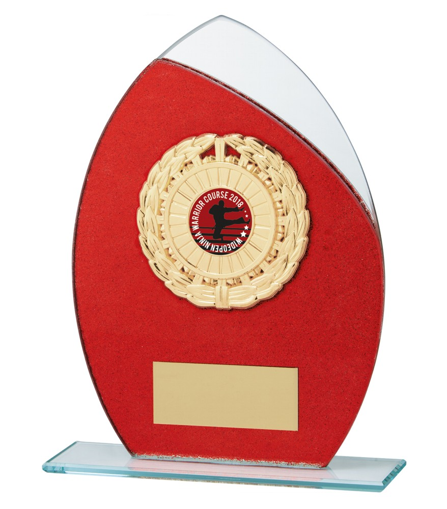 Any Sport Draco Red Glitter Glass Plaques