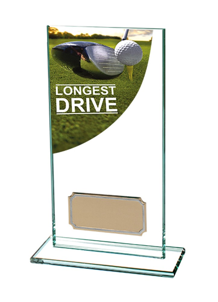 Longest Drive Golf Glass Trophies
