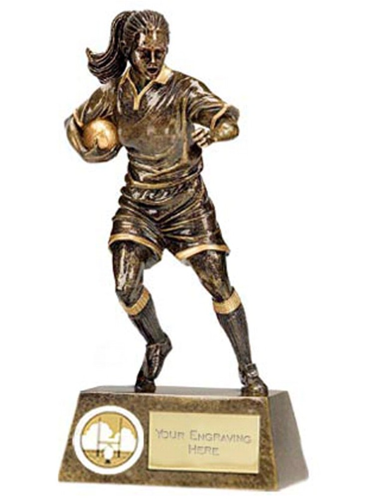 Resin Pinnacle Female Rugby Figure Trophies