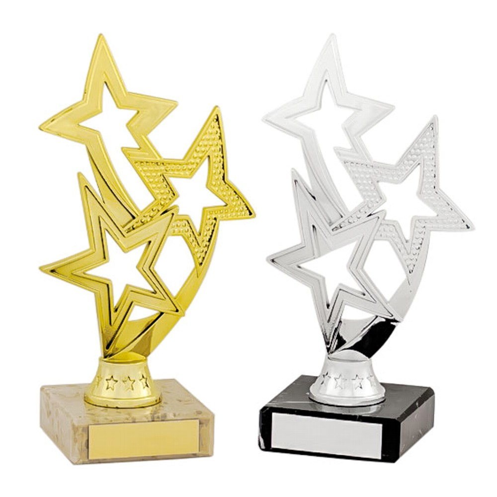 Gold and Silver Flowing Star Trophies