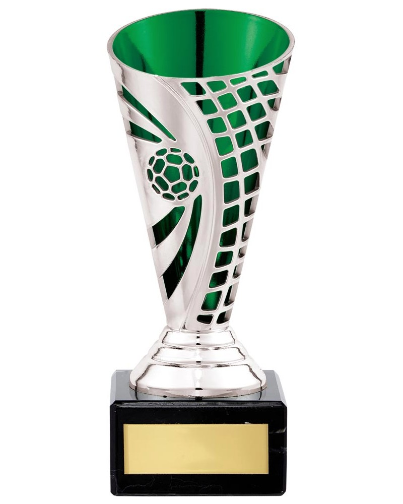 Silver/Green Defender Football Cup Trophies