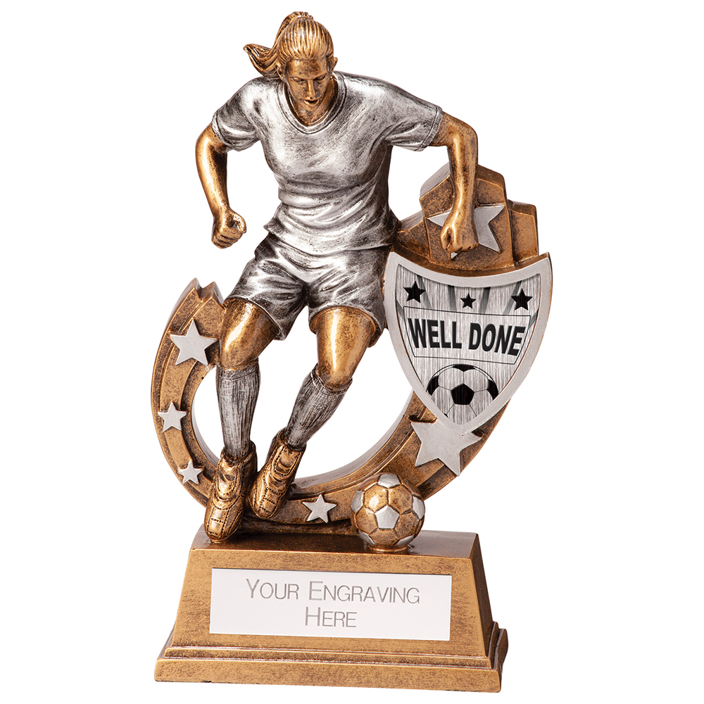 Female Galaxy Well Done Football Trophies